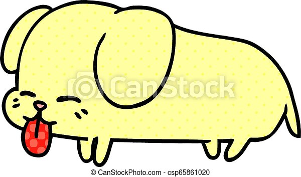 Freehand Drawn Cartoon Of Cute Kawaii Dog