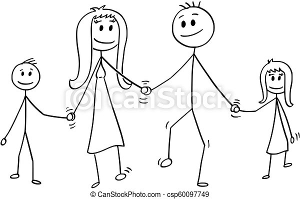 Cartoon of Family, Man and Woman and Boy and Girl Walking While Holding Hands - csp60097749