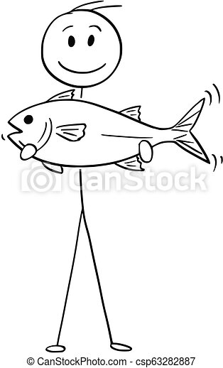 Cartoon Of Fisherman Holding A Catch Fish Cartoon Stick Drawing Conceptual Illustration Of Fisherman Holding A Big Catch