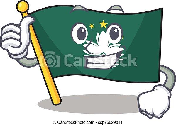 Cartoon of flag macau making Thumbs up gesture - csp76029811