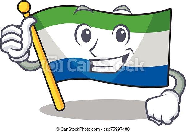 Cartoon of flag sierra leone making Thumbs up gesture - csp75997480