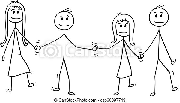 Cartoon of Four Children, Boys and Girls, Walking Together While Holding Hands - csp60097743