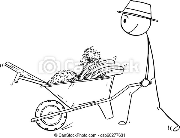 Gardener Pushing A Wheelbarrow Clipart And Stock Illustrations 91