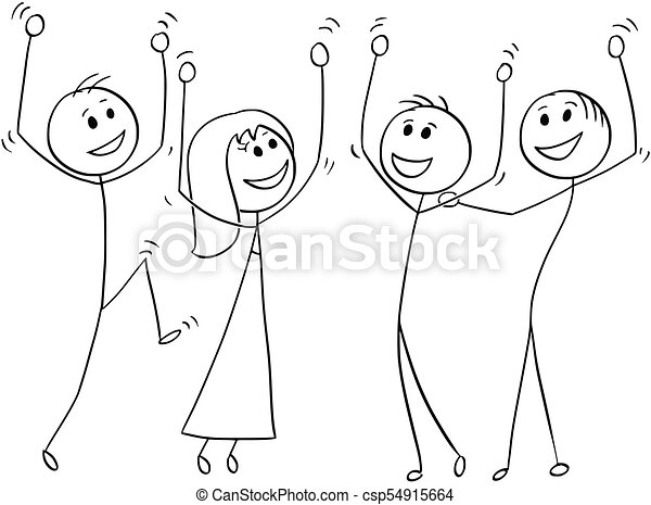 cartoon of group of people celebrating success cartoon stick man drawing illustration of business team or group of people https www canstockphoto com cartoon of group of people celebrating 54915664 html