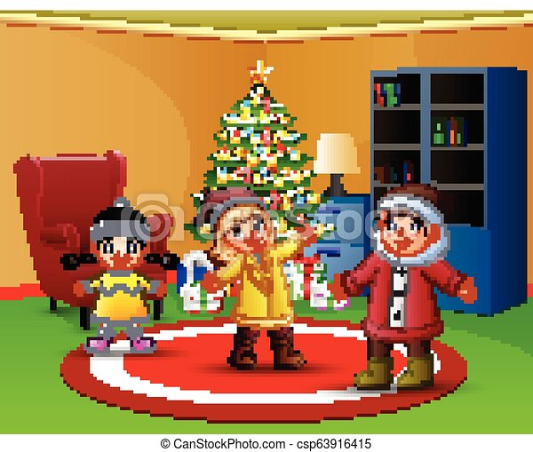 Cartoon Of Happy Kids In The Living Room With Christmas Tree Canstock Maybe your little ones will want to learn from this tutorial. https www canstockphoto com cartoon of happy kids in the living room 63916415 html