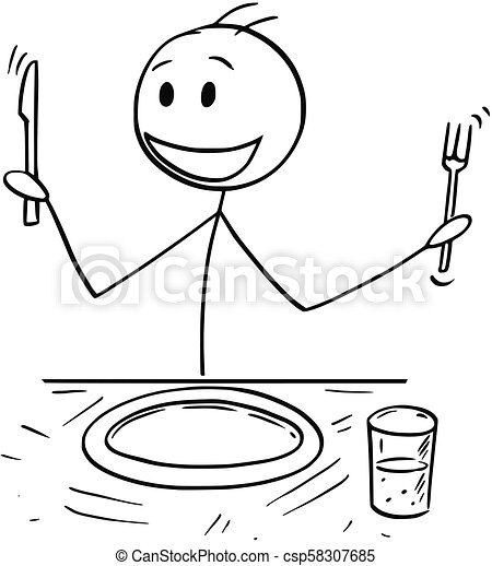 cartoon of hungry man with fork and knife waiting for food knife and fork crossed clipart knife and fork crossed clipart