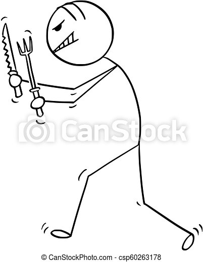 Cartoon Of Insane Or Mad Hungry Man Walking With Fork And Knife