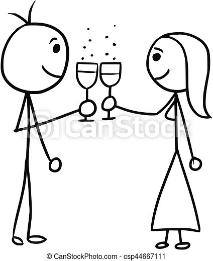 cartoon of man and woman clinking glasses cartoon vector vector rh canstockphoto com man and woman clipart man and woman clipart free