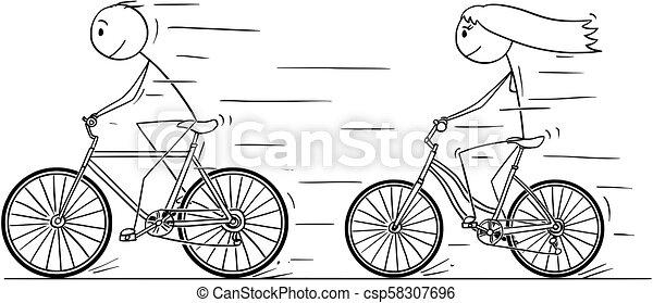 Cartoon Of Man And Woman Or Girl And Boy Riding On Bicycle Cartoon