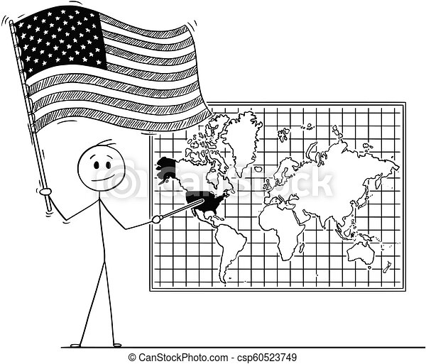 Cartoon Of Man Holding Us Flag And Pointing At United States Of - Cartoon-map-of-the-us