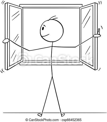 Cartoon of Man Opening Window