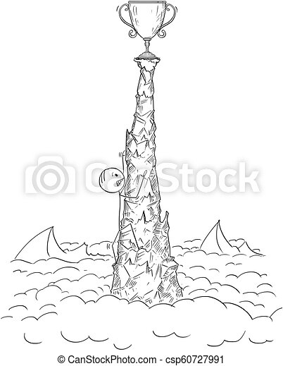 cartoon of man or businessman climbing and toiling on the top of the crag for success cartoon stick drawing conceptual can stock photo