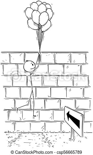 Cartoon of Man or Businessman Overcoming Obstacle Wall Holding Bunch of  Inflatable Balls or Balloons