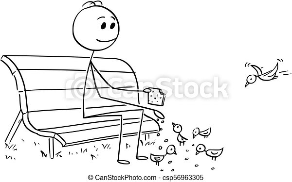 Superb Cartoon Of Man Or Businessman Relaxing On Park Bench And Feeding Birds Squirreltailoven Fun Painted Chair Ideas Images Squirreltailovenorg