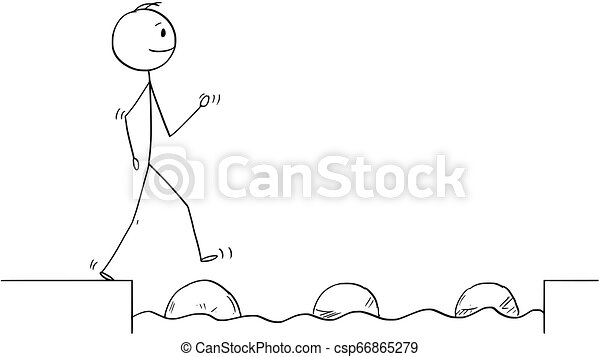 Cartoon of Man or Businessman Stepping on Stones to Get Over Water Obstacle - csp66865279