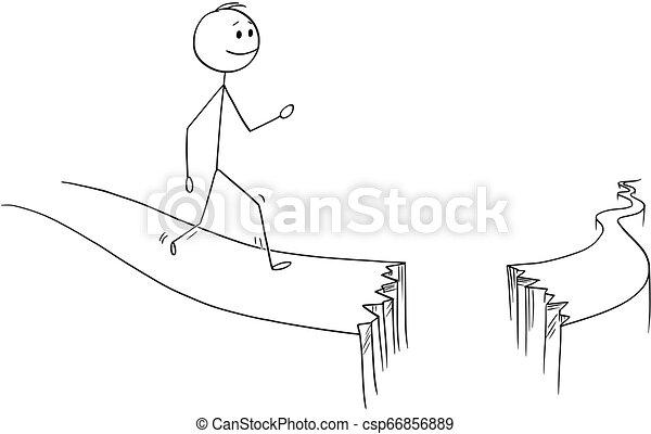 Cartoon of Man or Businessman Walking on Broken Path
