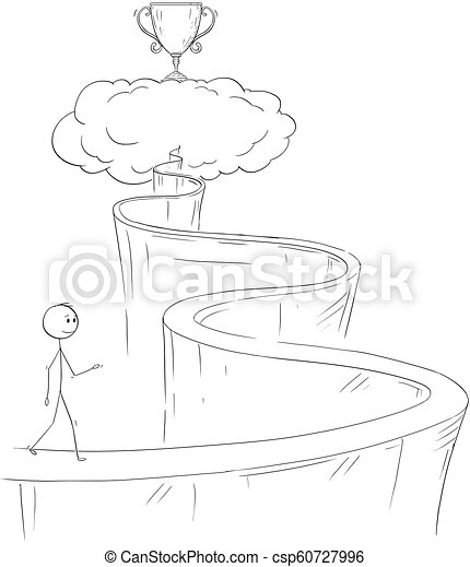 cartoon of man or businessman walking up the path to heaven for his dream and success cartoon stick drawing conceptual https www canstockphoto com cartoon of man or businessman walking up 60727996 html