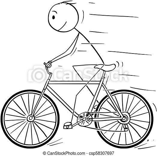 Cartoon of Man Riding on Bicycle - csp58307697