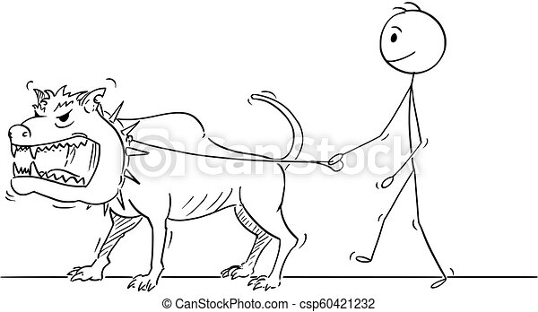 Cartoon Of Man Walking With Beast Monster Dangerous Big Dog