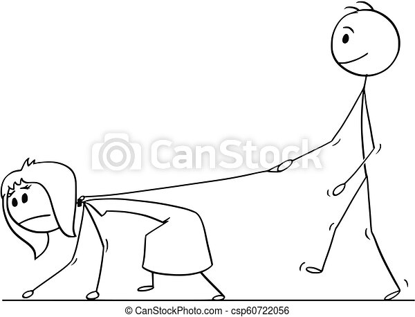 Cartoon Of Man Walking With Woman On A Leash Cartoon Stick Drawing