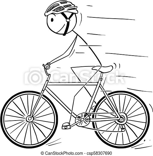 Cartoon of Man With Helmet Riding on Bicycle - csp58307690