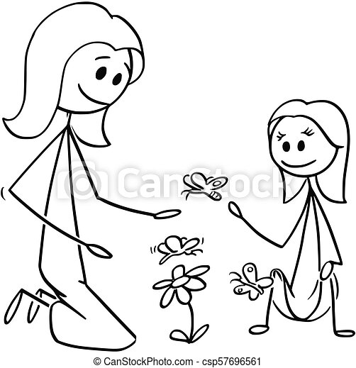 Cartoon Of Mother And Daughter Watching Flowers And Butterflies