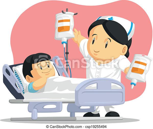 Cartoon of Nurse Helping Patient - csp19255494