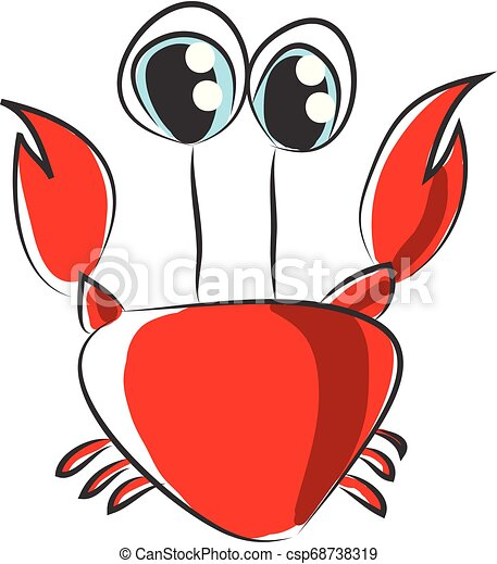 Cartoon of red crab vector illustration on white background. - csp68738319