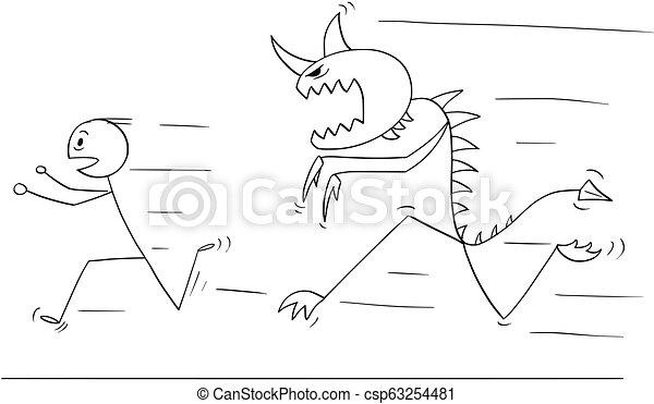 Cartoon Of Scared Man Running Away From Monster Creature Cartoon