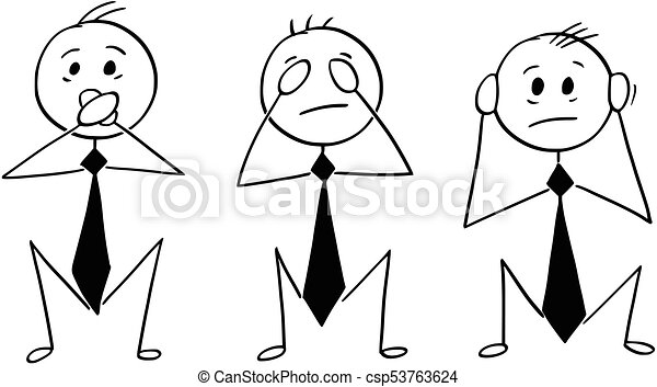 Cartoon of Three Wise Businessmen Who See, Hear and Speak no Evi - csp53763624