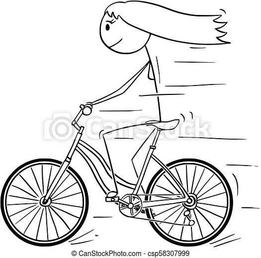Cartoon of Woman or Girl Riding on Bicycle - csp58307999