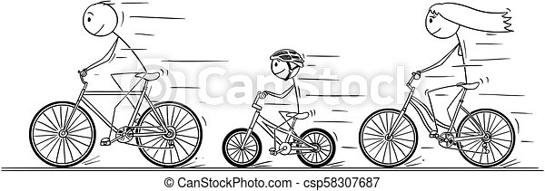 Cartoon of Young Family Riding on Bicycle - csp58307687