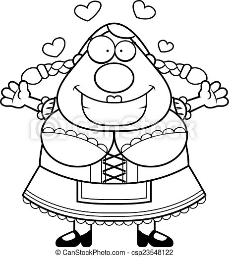 Cartoon Oktoberfest Woman Hug - csp23548122