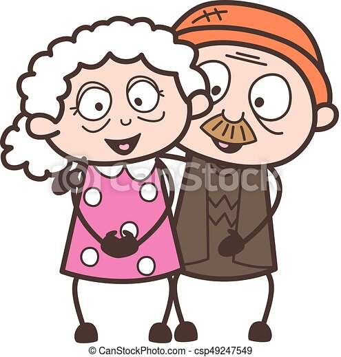 cartoon old age love couple characters vector illustration rh canstockphoto com old person cartoon drawing old person cartoon picture