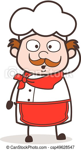 Cartoon Old Chef Hushed Face - csp49628547