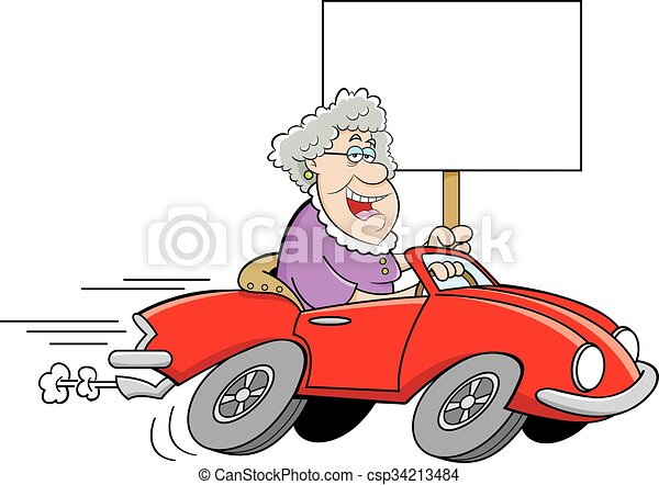 Cartoon Old Lady Driving a Sports C - csp34213484