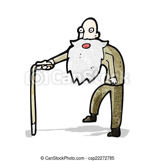 cartoon old man walking - csp22272785