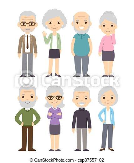 Cartoon old people set - csp37557102