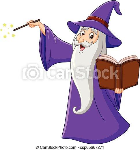 Cartoon old wizard holding a magic book - csp65667271