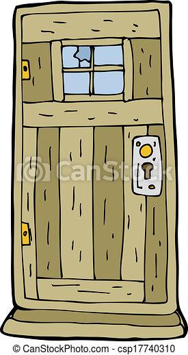 cartoon old wood door - csp17740310 & Cartoon old wood door.