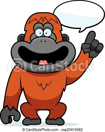 cartoon orangutan talking a cartoon illustration of a clip art rh canstockphoto com cute orangutan clipart baby orangutan clipart