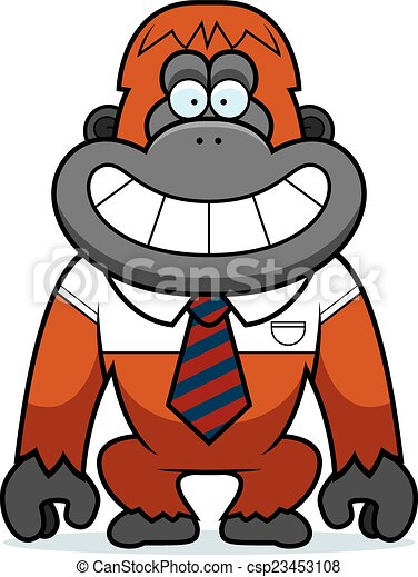 cartoon orangutan tie a cartoon illustration of an orangutan in a tie rh canstockphoto com orangutan clipart black and white orangutan clipart
