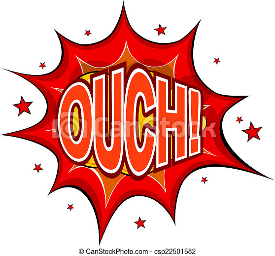 Cartoon OUCH! on a white background. Vector illustration. - csp22501582