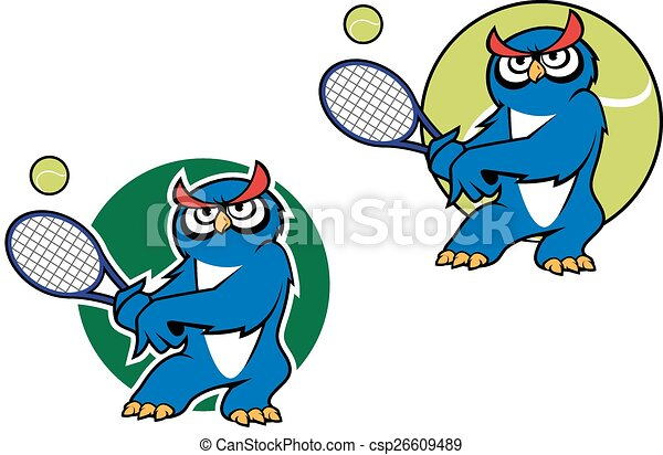 cartoon owl mascot with racket cartoon blue owl character rh canstockphoto com Sports Clip Art of an Owl Owl Mom and Dad Clip Art