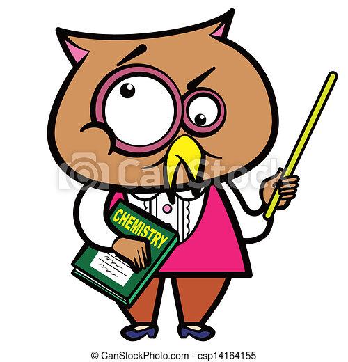 cartoon owl teacher with a pointer and book clipart vector search rh canstockphoto com Teacher Reading Clip Art Teacher Apple