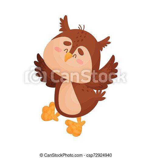 Cartoon owl. Vector illustration on a white background. - csp72924940