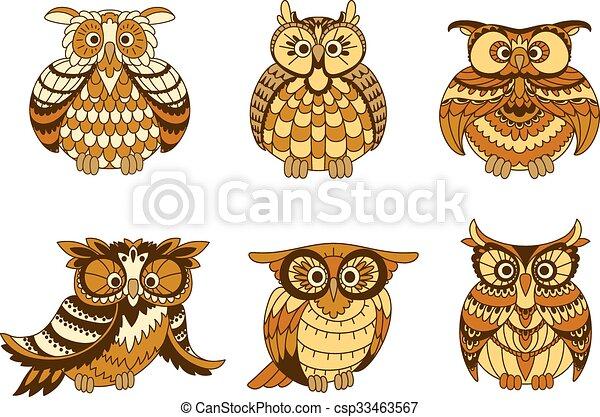 Cartoon owls with brown and orange plumage - csp33463567
