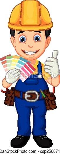 Cartoon painter thumb up - csp25687152