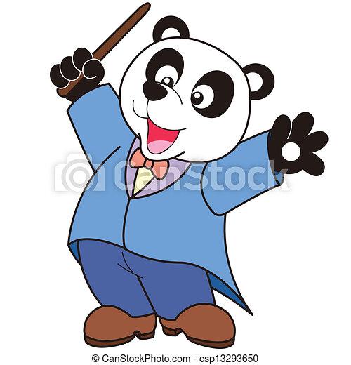 cartoon panda music conductor clipart vector search illustration rh canstockphoto com conductor clipart free conductor hat clipart