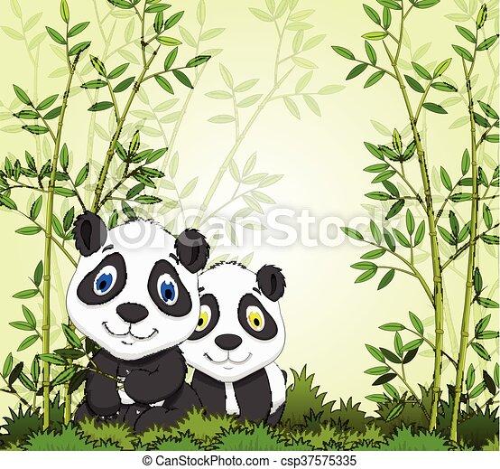 cartoon panda with bamboo forest - csp37575335